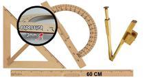 Kit Geométrico do Professor Mdf Com Régua 60 cm 1 Compasso Para Quadro Branco 40 cm 1 Transferidor 180 Graus e 1 Esquadro 45 Graus - Souza