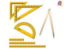 Kit Geométrico Professor 7 Peças em MDF - Régua 1M - Ciabrink