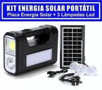 Kit Gerador De Energia Solar Com Bateria 3 Lampadas Led C/ Lanterna E Farolete Led Placa Solar Powerbank Pescaria Camping Acampamento Maquetes - Luatek