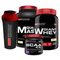 Kit Giant Mass 3kg Baunilha + Giant Whey 900g Baunilha + BCAA 4.5g 250g Uva + Coqueteleira   Bodybuilders -