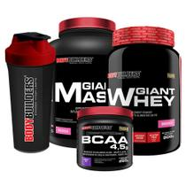 Kit Giant Mass 3kg Morango + Giant Whey 900g Morango + BCAA 4.5g 250g Uva + Coqueteleira   Bodybuilders -