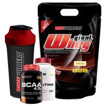 Kit Giant Whey 2kg Baunilha (Refil) + BCAA 4,5 100g + 100% Creatine 300g + Coqueteleira  Bodybuilders -