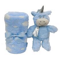 Kit Gift Manta E Unicórnio Pelúcia Azul - Buba 7755 -