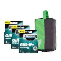 Kit Gillette 12 Cargas Mach 3 Regular + Brinde Necessaire Gillette -