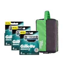 Kit Gillette 12 Cargas Mach 3 Regular + Brinde Necessaire Gillette -