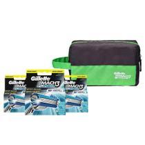 Kit Gillette Com 12 Cargas Mach3 Turbo + Necessaire -