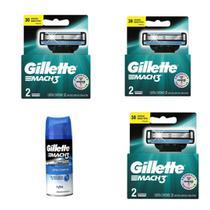 Kit Gillette com 3 caixas de cartuchos Mach 3 com dois refis cada e um gel de barbear de 72ml. -