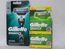 Kit Gillette contendo um aparelho recarregável Mach3 mais 2 caixas de cartucho Mach3 sensitive LV3 Pg2. -