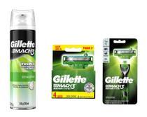 Kit Gillette contendo uma espuma de barbear, um aparelho recarregável Mach 3 e uma caixa de cartucho Mach 3 leve 4 pague 3. -