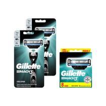 Kit Gillette Mach 3 Regular Aparelho + Carga com 16 Unidades -