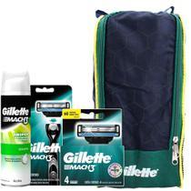 Kit Gillette Mach3: 1 Aparelho + 4 Cargas + 1 Espuma Sensitive 245g + Porta Chuteira -