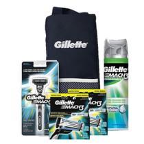 Kit Gillette Mach3: 1 Aparelho + 8 Cargas + 1 Espuma Sensitive 245g + Porta Chuteira -
