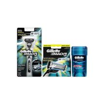 Kit Gillette Mach3 Aparelho e Carga + Desodorante Clinical Gel -