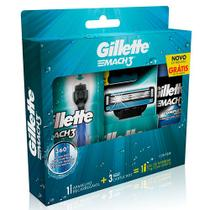 Kit Gillette Mach3 Regular Aqua-Grip + 2 Cargas + Gel de Barbear Complete Defense 72 ml