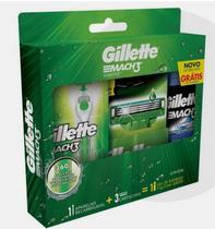 kit gillette Mach3 sensitive: aparelho recarregável, mais 3 cartuchos e um gel de barbear 72ml -