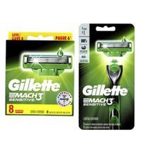 Kit Gillette sensitive, contendo uma caixa de cartucho leve 8 pague 6 mais um aparelho de barbear Mach 3 sensitive. -