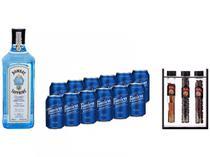 Kit Gin Bombay Sapphire London Dry 750ml + Água  - Tônica Antarctica 350ml 12 Unidades + Especiarias