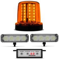 Kit Giroflex Sinalizador 54 LEDs 12/24V + Kit Farol de Milha Strobo Slim 4 LEDs 9 Efeitos Branco - Autopoli