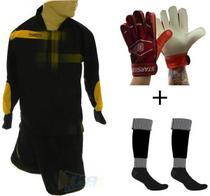 Kit Goleiro 4x1 Camisa Bermuda Luva meia amr/pto Infantil - Lambra -