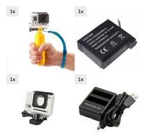 Kit GoPro 4 Hero 4 Black Hero 4 Silver Caixa Estanque Protetora Carregador Duplo Bateria Extra Recarregável Flutuante - Mega Vendas Online