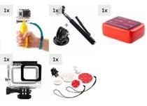 Kit GoPro 5 6 7 Black Caixa Estanque Kit Surf Completo Bastão Flutuante Pau De Selfie Adaptador Boia Esponja Adesivo 3M - Mega Vendas Online
