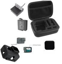 Kit Gopro Hero 5 6 7 Black Películas Carregador Duplo Case Bateria Capa Protetora De Silicone Tampa Da Lente Frontal - Mega Vendas