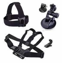 Kit Gopro Hero Action Sport Sjcam Suportes de Cabeça Peitoral Ventosa Ajustável de Vidro Jhook - Mega Vendas