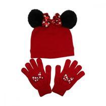 Kit Gorro e Luva Infantil Feminino Minnie Disney -