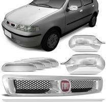 Kit Grade Dianteira Fiat Palio Siena 01 a 03 Cromada + Aplique Maçaneta Retrovisor Cromados Emblema - Prime