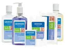 Kit granado bebe lavanda com 06 itens lenco umedecido shamp cond sab liquido barra e refil -