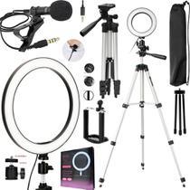 Kit Gravação de Vídeo Profissional Ring Light Led Anel Iluminador Tripé Acessórios Para Celular Universal Iphone Android - Leffa Shop