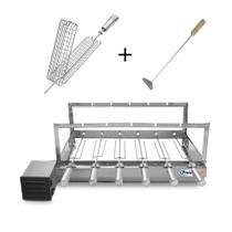 Kit Grill Inox Churrasqueira com 6 Espetos Tridente + Espeto Grelha Espalhador Carvão - Pratic Metal -