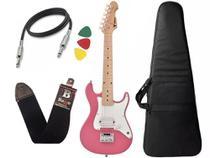 Kit Guitarra Criança Infantil Eletrica Phx Isth 1/2 Rosa Bag -