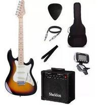 Kit Guitarra Strato Strinberg STS-100 com acessórios + amplificador SUNBURST -