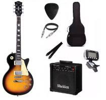 Kit Guitarra Strinberg Les Paul LPS230 + Amplificador + Afinador Digital + Acessórios Sunburst -