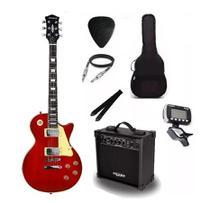 Kit Guitarra Strinberg Les Paul LPS230 + Amplificador + Afinador Digital + Acessórios Vermelha -