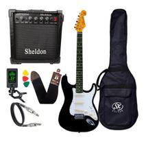Kit Guitarra Sx Sst62 Preta Vintage stratocaster com caixa Amplificadora Sheldon -