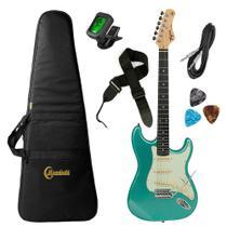 Kit Guitarra Tagima TG-500 MSG Stratocaster Metallic Surf Green Azul com Afinador, Capa, Correia, Cabo e Palhetas -