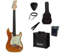 Kit Guitarra Tagima TG500 Strato Metallic Gold Yellow com Caixa Amplificada