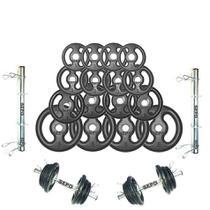 Kit Halteres de Anilhas e Barras Fitness - 44 Kg - Sepo - Pesos