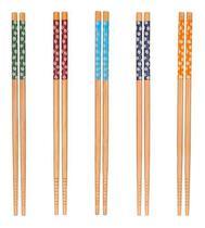 Kit Hashi De Bambu Reutilizável Estampa Colorida Japonês Com 5 Pares - Sunflower