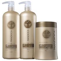Kit Haskell Mandioca Shampoo Condicionador 1000ml Máscara Hidratante 1000gr -