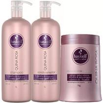 Kit Haskell Quina Rosa Shampoo Condicionador Mascara 1l/1kg -
