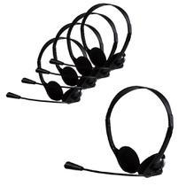 Kit Headset Bright 0010 office, Com Microfone, 2 Entradas P2, Preto - 5 Unidades -