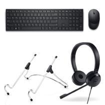 Kit Headset Stereo Logitech UC150 + Suporte Uptable Octoo Chrome + Teclado e Mouse sem fio Dell Pro KM5221W -