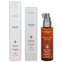 Kit Healing Volume Shampoo, Condicionador e Thickening Treatmente Lanza -