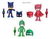 Kit Heróis Pj Masks Com 9 Pçs Bonecos 15cm Máscaras E Relógios Luz - Cn