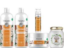 Kit Hidratação Completa Coconut Inoar Shampoo e Condicionador Litro + Mega Dose + Máscara de Tratamento + Óleo de Coco -