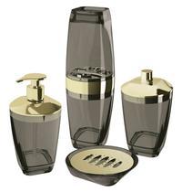 Kit Higiene Banheiro 4 Peças Porta Escova Sabonete Líquido Porta Algodão E Saboneteira Premium Uz Preto/Dourado -