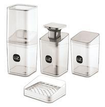 Kit Higiene Banheiro 4 Peças Quadrado Slim Porta Escova Sabonete Líquido Porta Algodão E Saboneteira UZ -